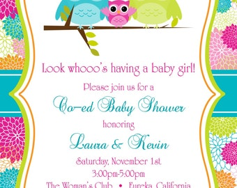 "Owls Co-Ed Baby Shower Invitation 5""x7"" Digital Card"