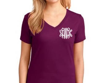 V-Neck Tee With Small Monogram