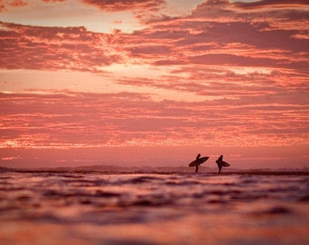 Surf Photography - Surfers walking on the Beach with Surfboards during Sunset in California Surfing Photo