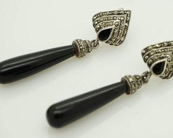 "Vintage Sterling Silver/925 Onyx and Marcasite Dangle Drop Earrings-2""; sku # 3560"
