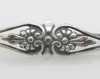 Vintage Sterling Silver/925 Flower Filigree Pin Brooch; sku # 3643