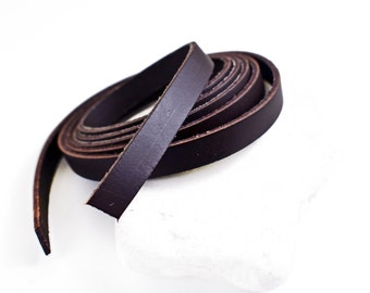 "10mm Flat Leather Cord, Brown Greek Leather Cord, Bracelet Cord, Necklace Cord, Jewelry Supplies, 8""/20.3cm approx"