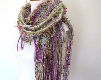 Knit Scarf - Chunky Hand Knit Scarf - Knit Scarf Multi Colored - Hand Tied Yarn Scarf - The Violet - Ready to Ship