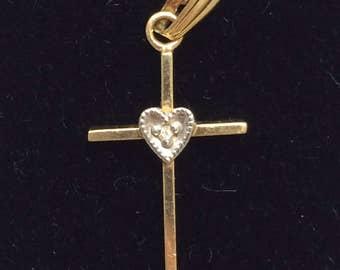 Vintage 14K Yellow Gold Diamond Heart Petite Cross PRETTY Great for Gift!
