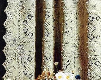 Crocheted Curtain or Bedspread Vintage Crochet Pattern Download