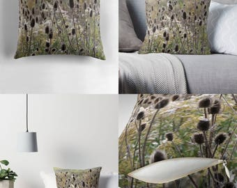 Throw Pillow - Pillow Cover — Wild Teasel / Feathery Rustic Image of Wildflower Seed Pods on Prickly Stems / Spun Polyester