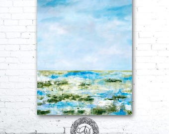 Blue Sky Painting, Colorful Landscape Painting, Colorful Wall Art, Coastal Landscape Painting, Coastal Decor, Marsh Painting, Home Decor