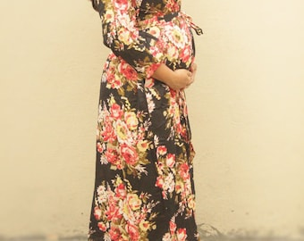 Black floral maternity robe, ready to ship, for pregnancy and post birth photos
