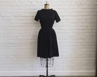 1950s Black Dotted Swiss 2 Piece Set // 50s Blouse, Belt, Skirt Matching Set // Vintage 1950s Bobbie Brooks Swiss Dot Dress Set