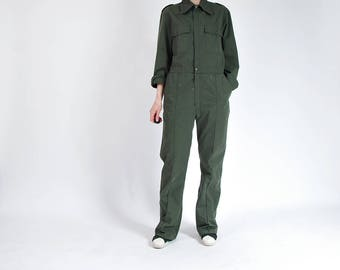 70s Pioner Army Green Painter Workwear Street Style Jumpsuit Coveralls / Men S-M Women M-L