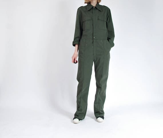 SALE - 70s Pioner Army Green Painter Workwear Street Style Jumpsuit Coveralls / Men S-M Women M-L