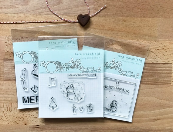 Snowflakes on my Nose- Snowman Christmas clear stamp set for paper crafting