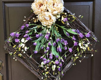 Square grapevine twig wreath, wreath, Mother's day wreath, front door decor, lavender grapevine square, violet and cream, purple, cream