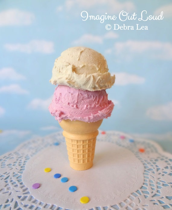 NEW Fake Ice Cream Faux Strawberry Vanilla Double Scoop on Cone Photo Prop Decor