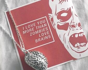 3D Anatomical Brain    Anatomy Necklace   Gothic Gift   Zombie Valentine   Alternative Jewellery   Anatomy Jewelry   Medical Student Gift