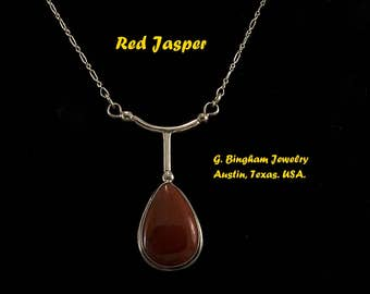 Red Jasper and Sterling Silver Pendant GB 001