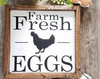 Farm Fresh Eggs - Farmhouse Decor - Fresh Eggs - Farmhouse Signs - Farmhouse Kitchen Decor - Kitchen Decor - Kitchen Signs -