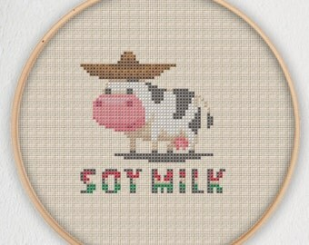 Soy Milk Cow Cross Stitch Pattern - Instant Download PDF