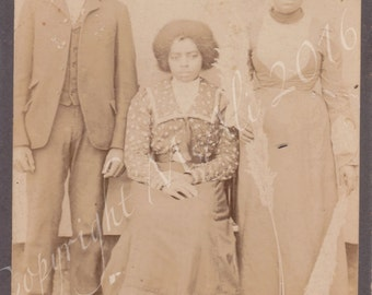 Vintage  African American   Cabinet Photo Family