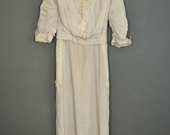 Vintage 1910s antique victorian edwardian dress pink pale - lace and silk