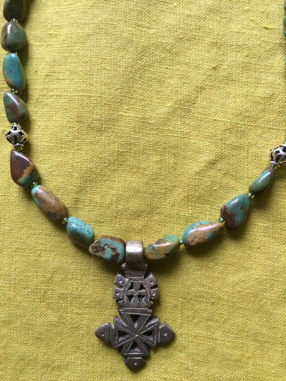 Turquoise Nugget and Coptic Cross Necklace