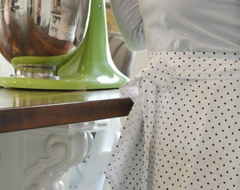 Pie Making on a Sunday Apron - Black and White Polkadot Half Apron, Women