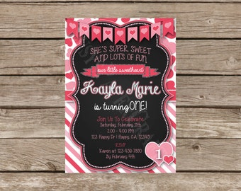 Valentine First Birthday Invitation, Digital File, You Print