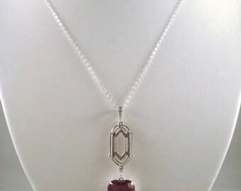 Purple Rhinestone Heart Necklace Victorian Inspired Jewelry