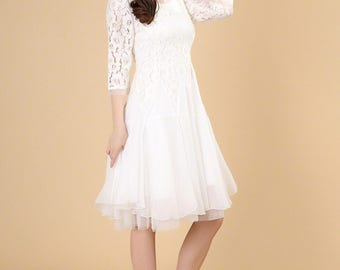 White Lace Midi Dress - Fit and Flare Dress - Short Prom Dress - Pink Lace Dress - Lace Tea Dress - Bridesmaid Dress Wedding Dress AS84