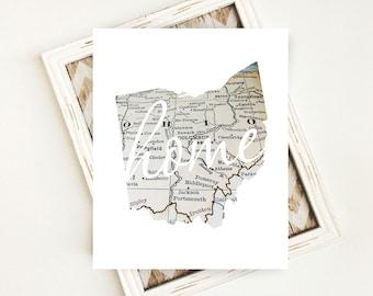 Ohio State Art File, Printable State Art, Ohio State Map Download, Ohio Home Sign, Housewarming Gift, 8x10 Printable Wall Art