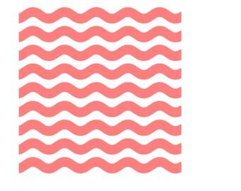 Wavy Lines Stencil, Thick Wavy Lines Stencil, Curved Lines Stencil, Wavy Lines Cookie Stencil, Wave Lines Stencil, 5.5 x 5.5, Wavy Lines