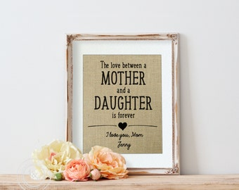 Gift from step parent, Gift for Stepmom, Burlap Art Print, Gift from step children, Gift from stepmom, The Love Between a Step Mother