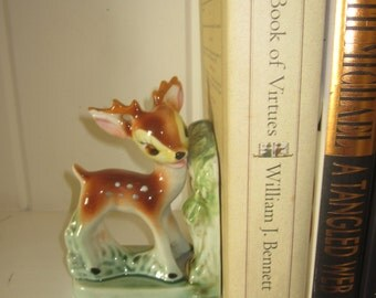 Vintage Bambi Bookend Baby Deer Fawn Ceramic Story Book - Japan