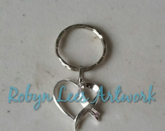 Silver Cancer Awareness Ribbon Heart Keyring with Pale Pink Rhinestone on Silver Split Ring. Love, Family, Friends, Remember