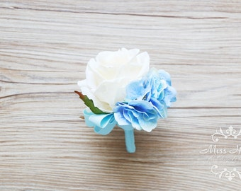Blue Boutonniere, Ivory Rose Boutonniere, Rustic Buttonhole, Groomsmen Flowers, White Boutonniere, Blue hydrangea Boutonniere, Hy