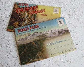 Two Vintage Fold-Out Postcards from Colorado: Colorado Springs and Pikes Peak