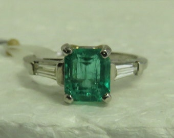 Vintage Estate Platinum Light Green Emerald (1.56 ct, 7 x 6 4 mm) Diamond (2 Tapered Baguettes = .15 ct) Ring / Sz 6 1/4
