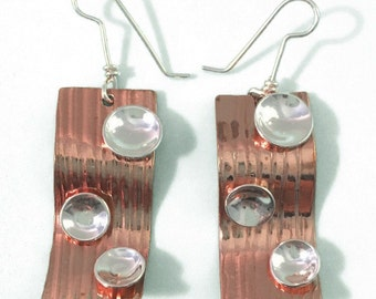 Wavy Sterling Silver and Copper Earrings