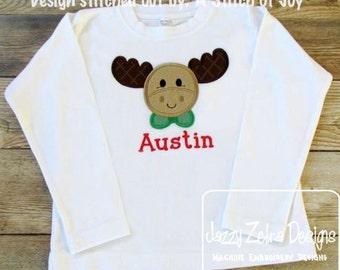 Moose boy Applique Embroidery Design - moose appliqué design - boy appliqué design