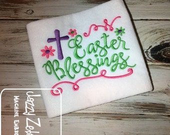 Easter Blessings saying Embroidery design - Easter embroidery design - cross embroidery design - religious embroidery design
