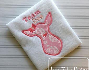 Team Doe applique embroidery design - doe appliqué design - girl appliqué design - baby appliqué design - baby reveal appliqué design - deer