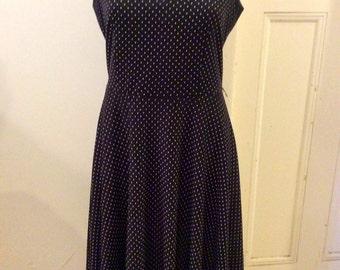 Vintage INSPIRATION Black & White Polka Dot Spot 70s 80s Dress Sz Aus 8 10 US 4 6 S M