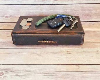 Jewelry Box Wood Valet Black Farmhouse Chic Gothic Jewelry Box  Eco Friendly Up Cycled READY TO SHIP