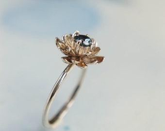 Gold flower engagement ring, sapphire, white gold ring, unique engagement ring, proposal ring, lotus ring, 14K gold ring, ring size 7