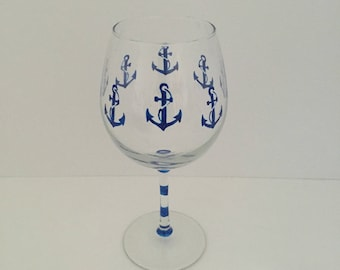 Hand Painted Wine Glass, Red Wine Glass,  Nautical, Anchors