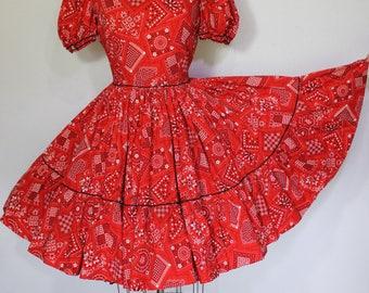 Vintage 50s RED Bandana Western Swing Circle Skirt Cowgirl PiN Up DRESS M
