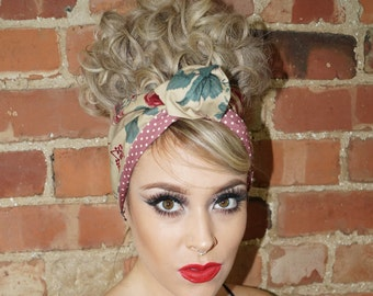 Vintage Rose Rockabilly Retro Pin up Wired Reversible Headband Headwrap