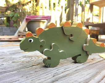 Wooden Dinosaur Puzzle, Handmade Puzzle, Kids Toy, Lizard Puzzle, Wooden Toys
