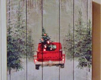 Handmade Christmas Sign, Wooden Christmas Sign, Vintage Red Truck Christmas Sign, Christmas Tree Truck Sign, Vintage Red Truck with Tree