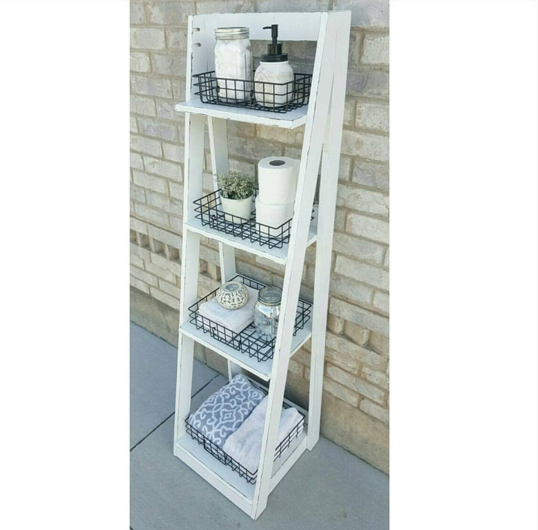 Tiered Ladder Shelf   Ladder Shelf   Bathroom Shelf   Bookcase   Wood Shelf    Plate Shelf